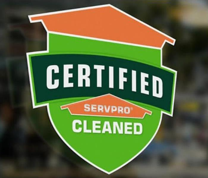 Certified:SERVPRO cleaned graphic on the window of a business