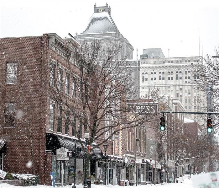 Snow covered buildings in Downtown Greensboro, North Carolina.
